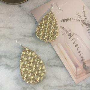 Metallic Water Drop Imitation Leather Earrings